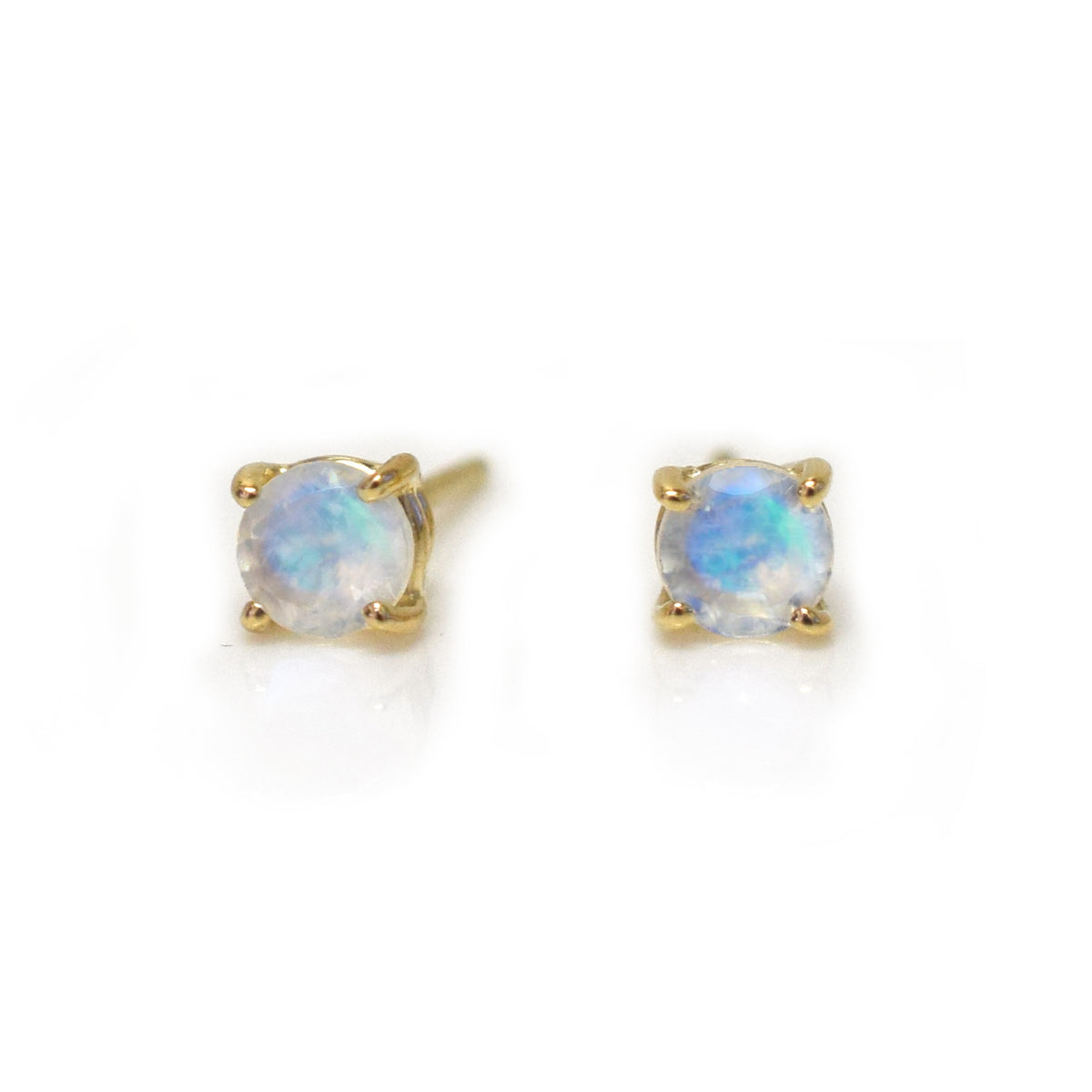 14kt Gold Rainbow Moonstone Solo Studs *online exclusive*