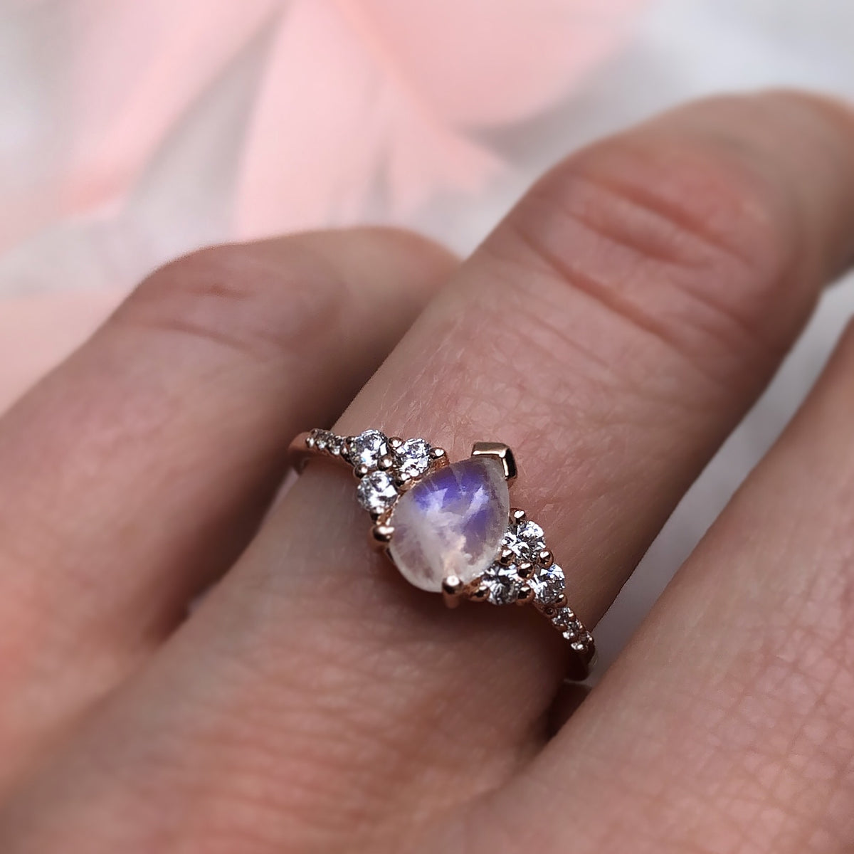 Rainbow Moonstone and Diamond Misty Ring