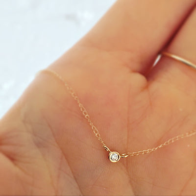 14kt Gold Solo Diamond Pendant