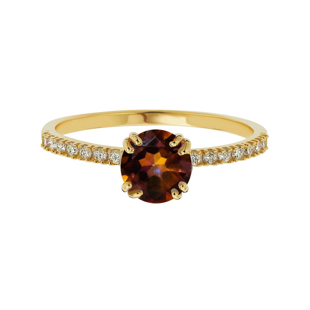 14kt Diamond and Anastasia Topaz Solo Ring