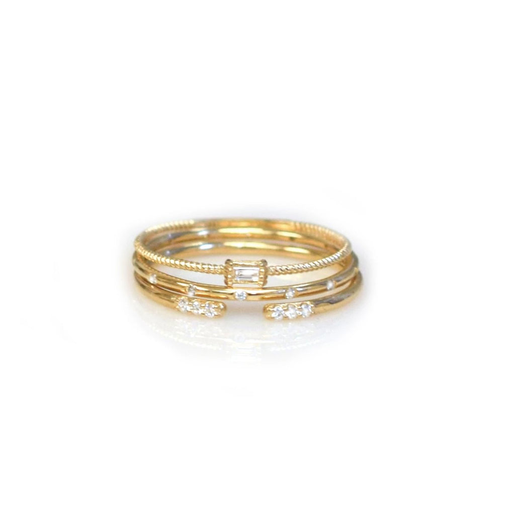 Exclusive 14kt Gold Diamond Birds Of A Feather Stacking Ring