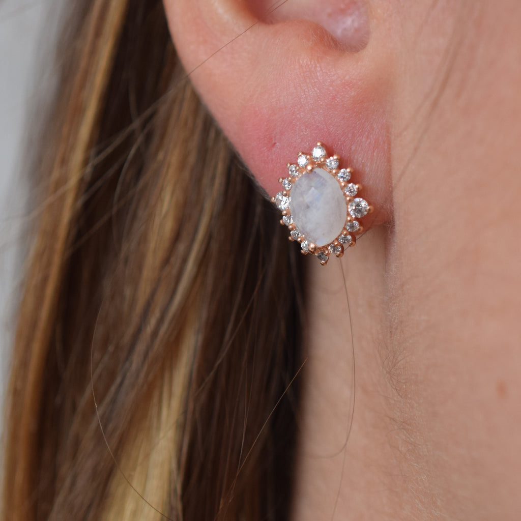 Rose Gold Rainbow Moonstone and Diamond Flowerburst Studs