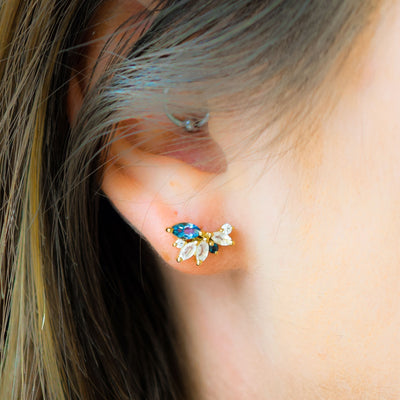 Rainbow Moonstone & London Blue Topaz Butterfly Studs
