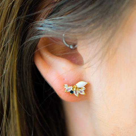 Opal & Diamond Butterfly Studs