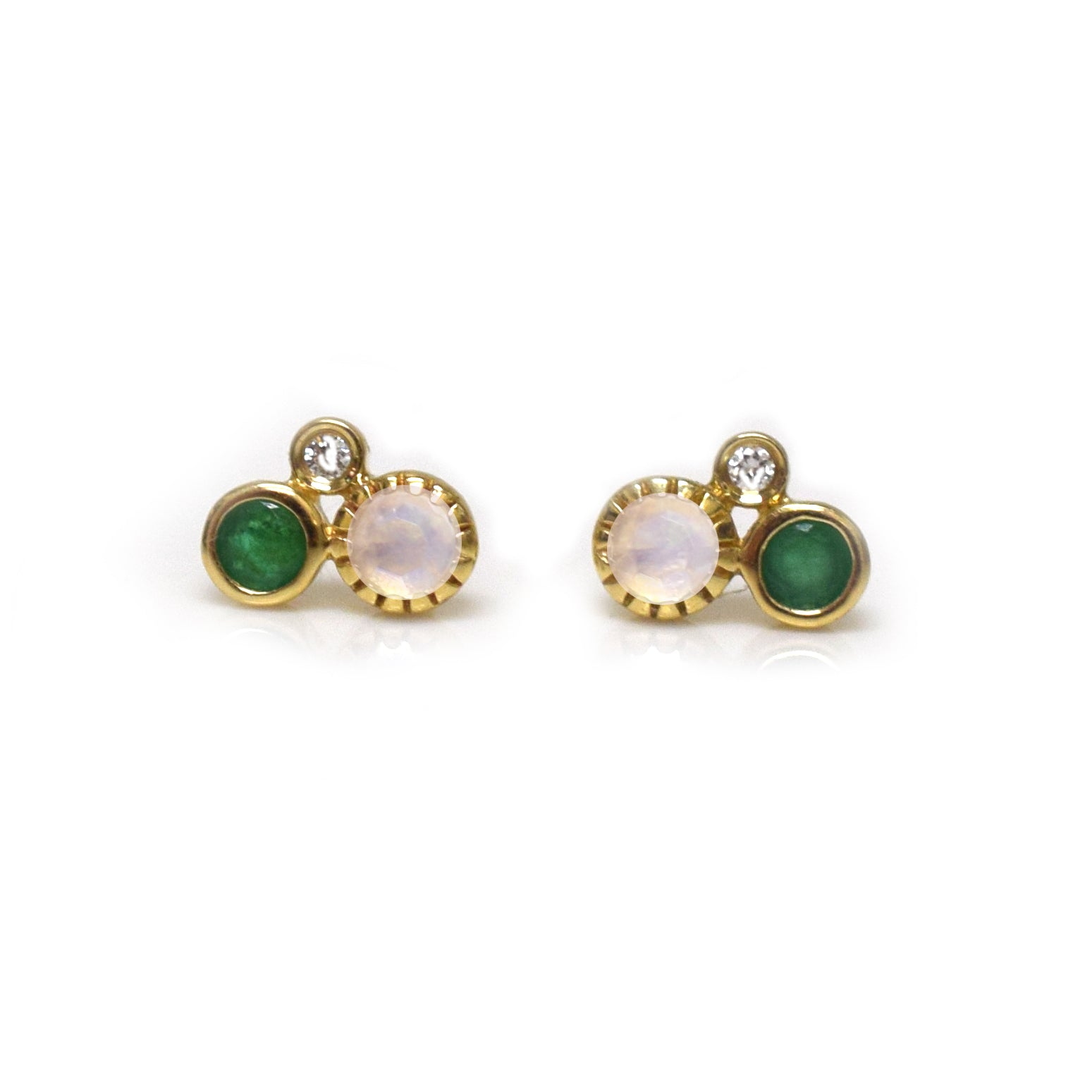 14kt Gold Emerald, Rainbow Moonstone & Diamond Cluster Studs