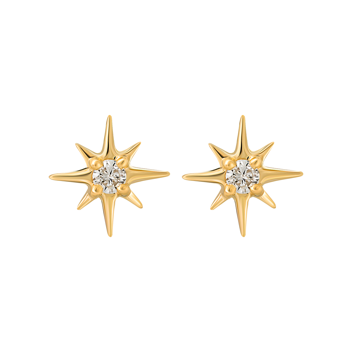 14kt Mini Diamond Star Studs