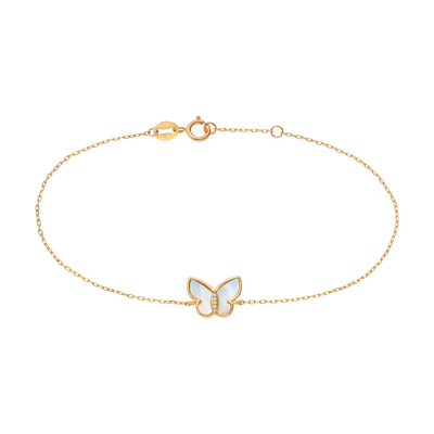 10kt Mother Of Pearl Butterfly Bracelet