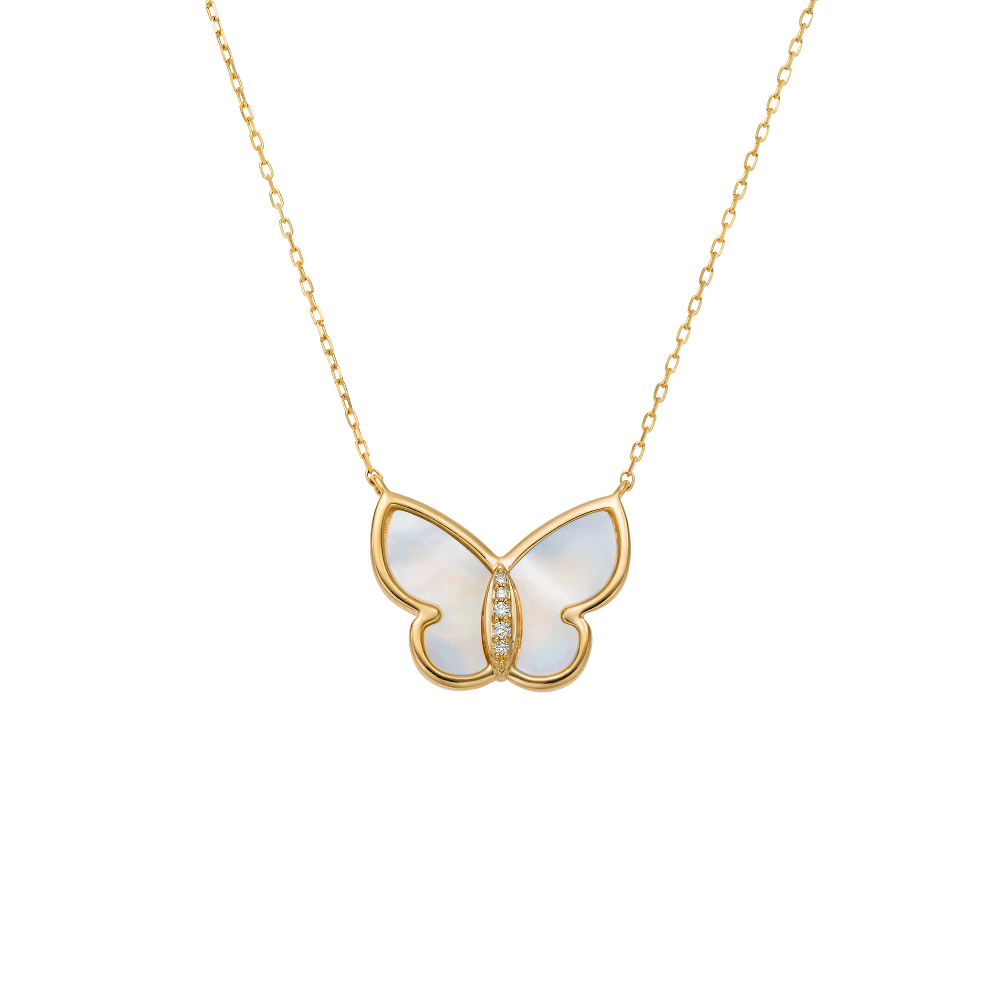 10kt Mother of Pearl and Diamond Butterfly Pendant