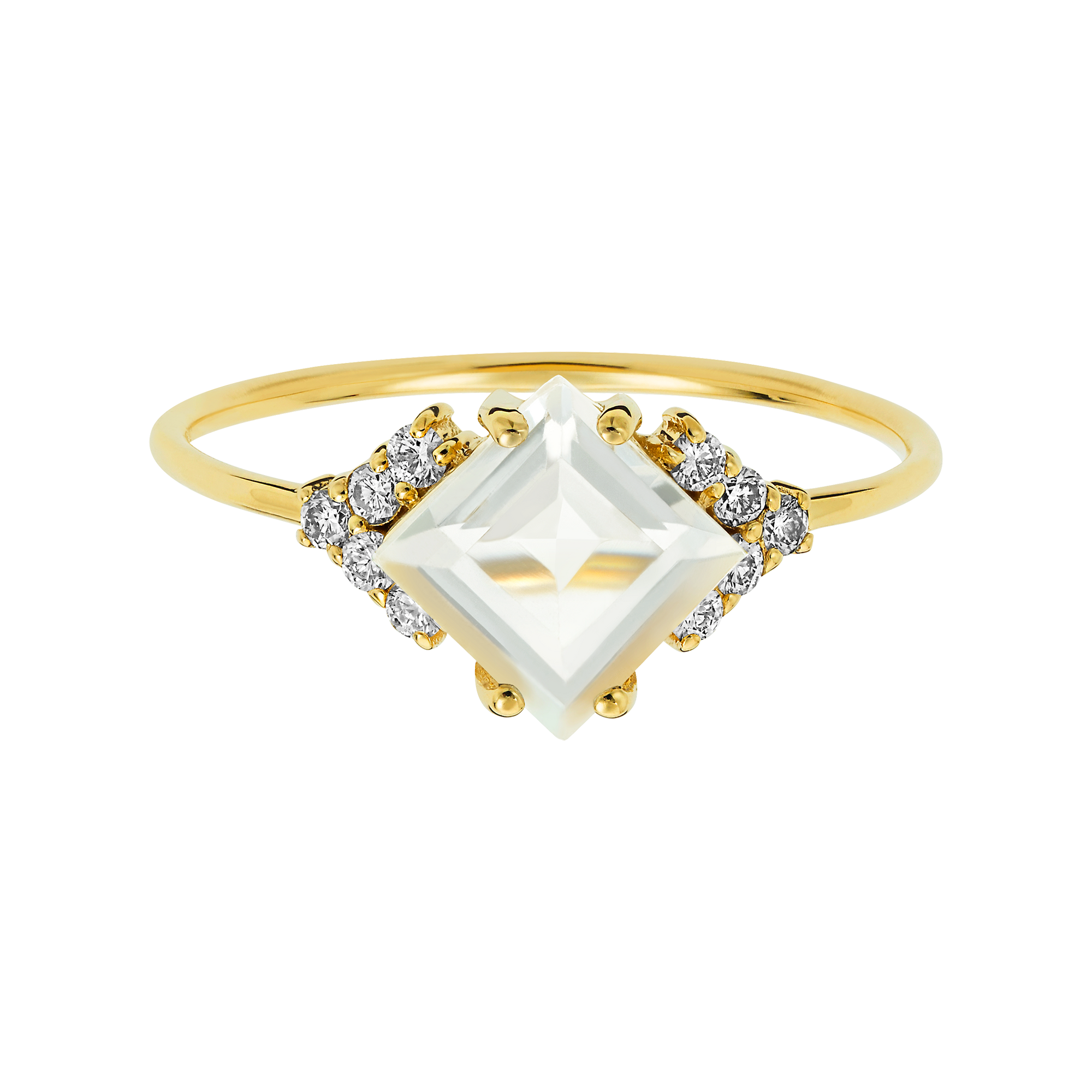 14kt Gold Diamond & Topaz Aphrodite Shield Ring