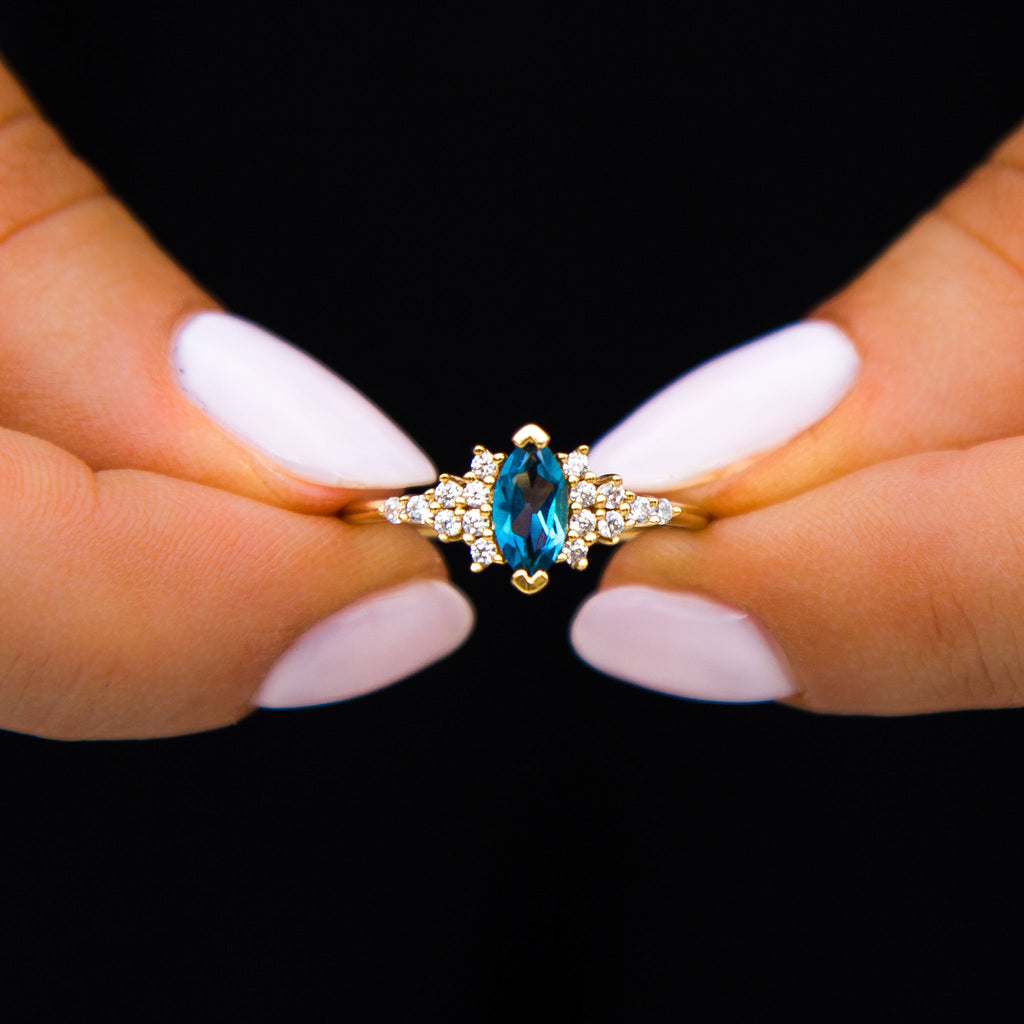 London Blue Topaz & Diamond Calypso Ring