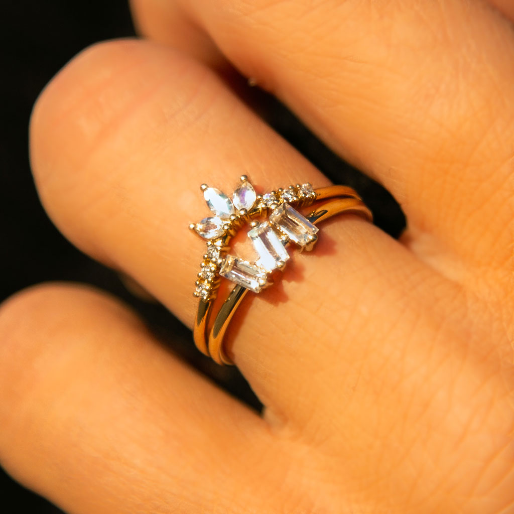 14kt Gold Rainbow Moonstone & Diamond Lily Arc Ring