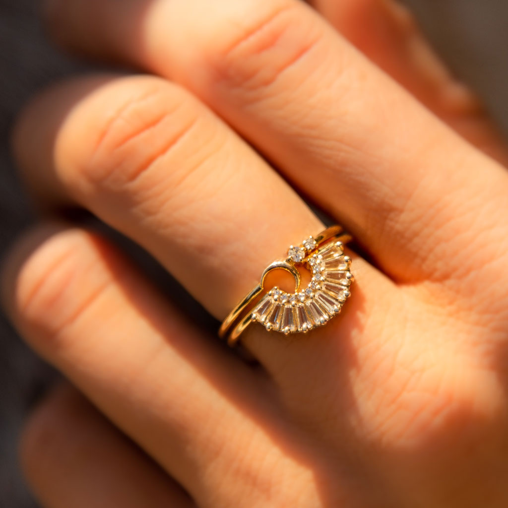 14kt Gold Diamond Fly Me To the Moon Ring