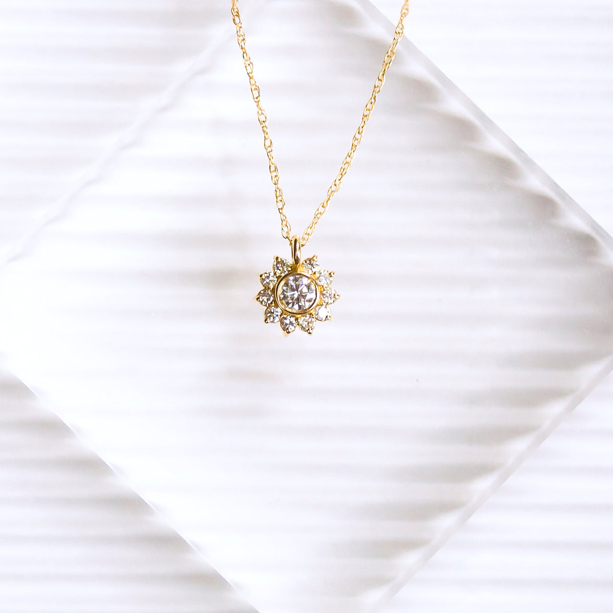 14kt Gold Diamond Sunflower Pendant