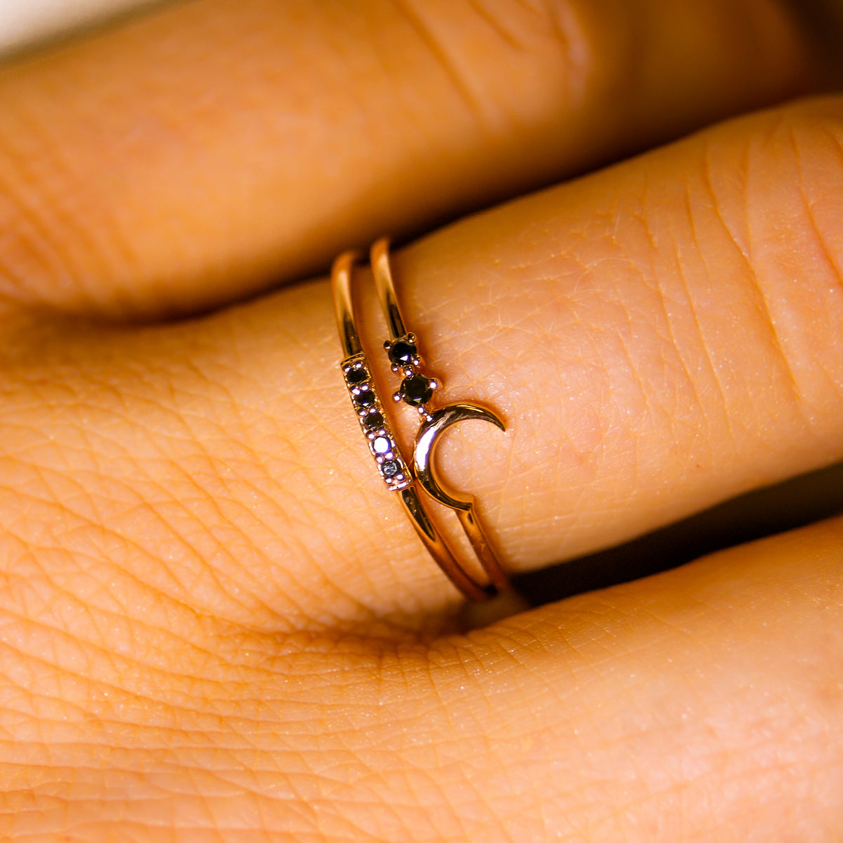 14kt Rose Gold Black Diamond Fly Me To The Moon Ring
