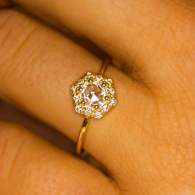 14kt Gold Rose Cut Moissanite & Diamond Victorian Belle Ring