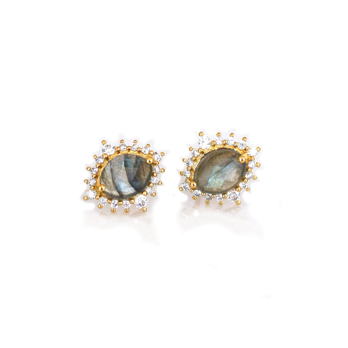 Labradorite and Diamond Flowerburst Studs