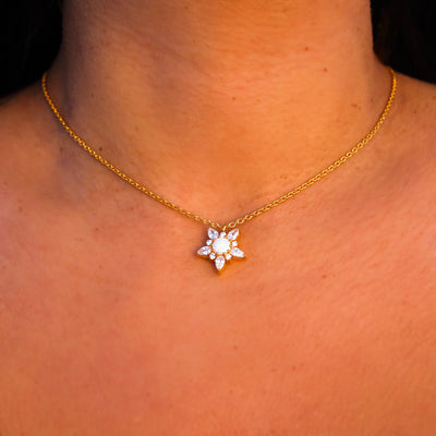 Opal & Diamond Wildflower Pendant