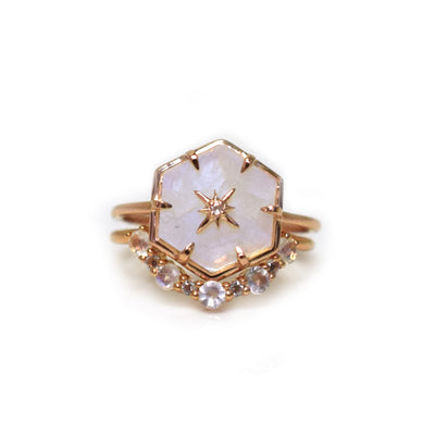 Rose Gold Guiding Light Rainbow Moonstone and Topaz Stack