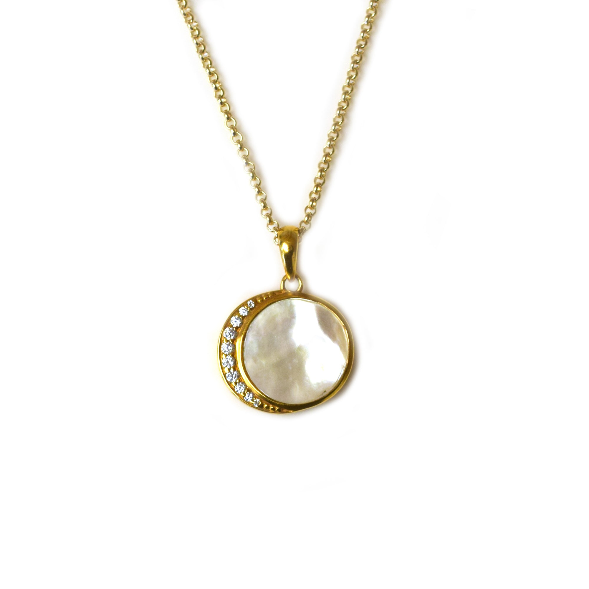 Mother Of Pearl and Diamond Moon Phase Pendant