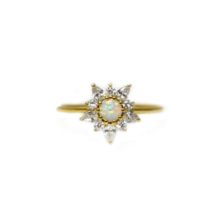 Opal & Diamond Posy Ring