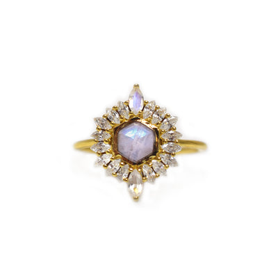 Rainbow Moonstone & Diamond Artemis Ring