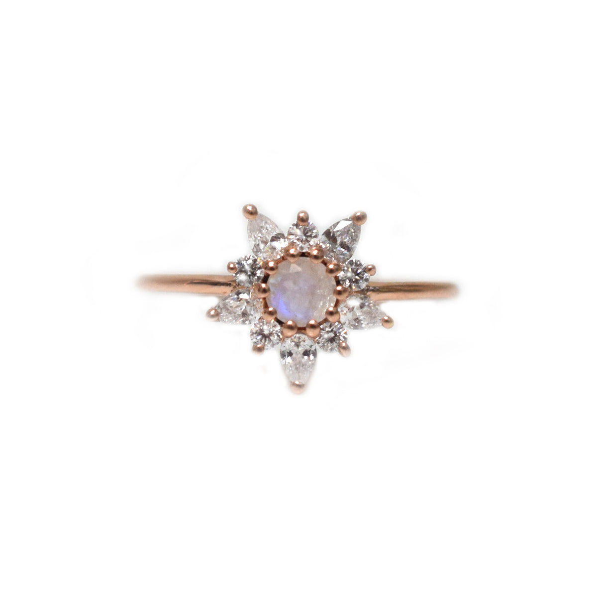 Rose Gold Rainbow Moonstone & Diamond Posy Ring