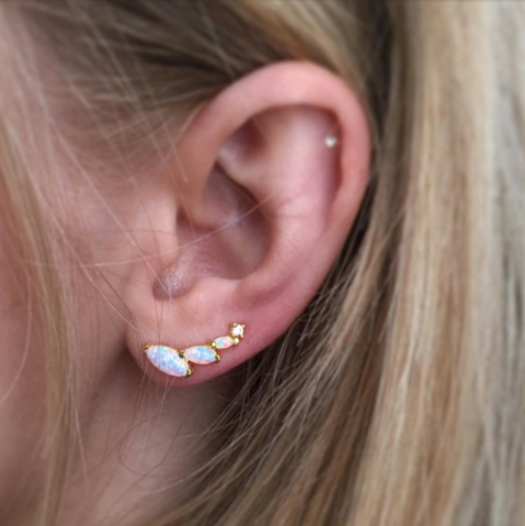 Opal and Diamond Wing Ear climbers