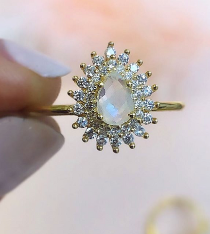Rainbow Moonstone and Diamond Vintage Versailles Ring