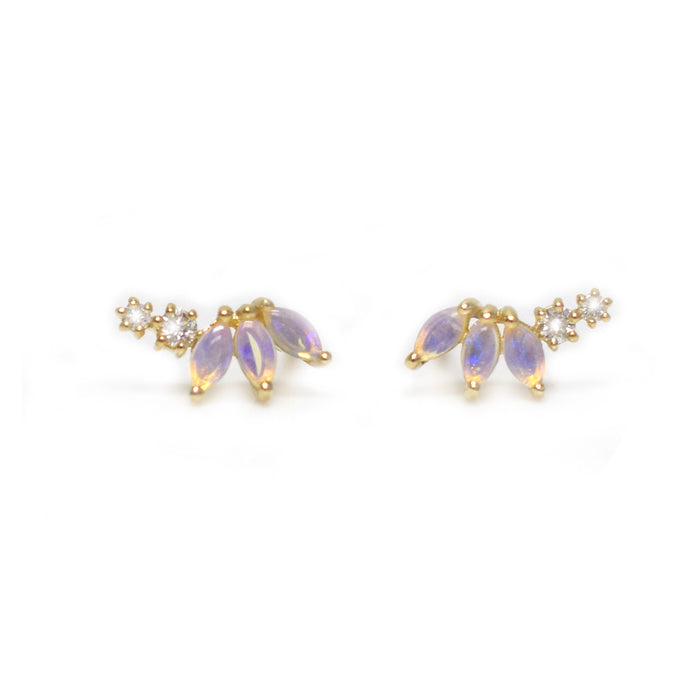 14kt Gold Opal & Diamond Twinkling Lotus Studs