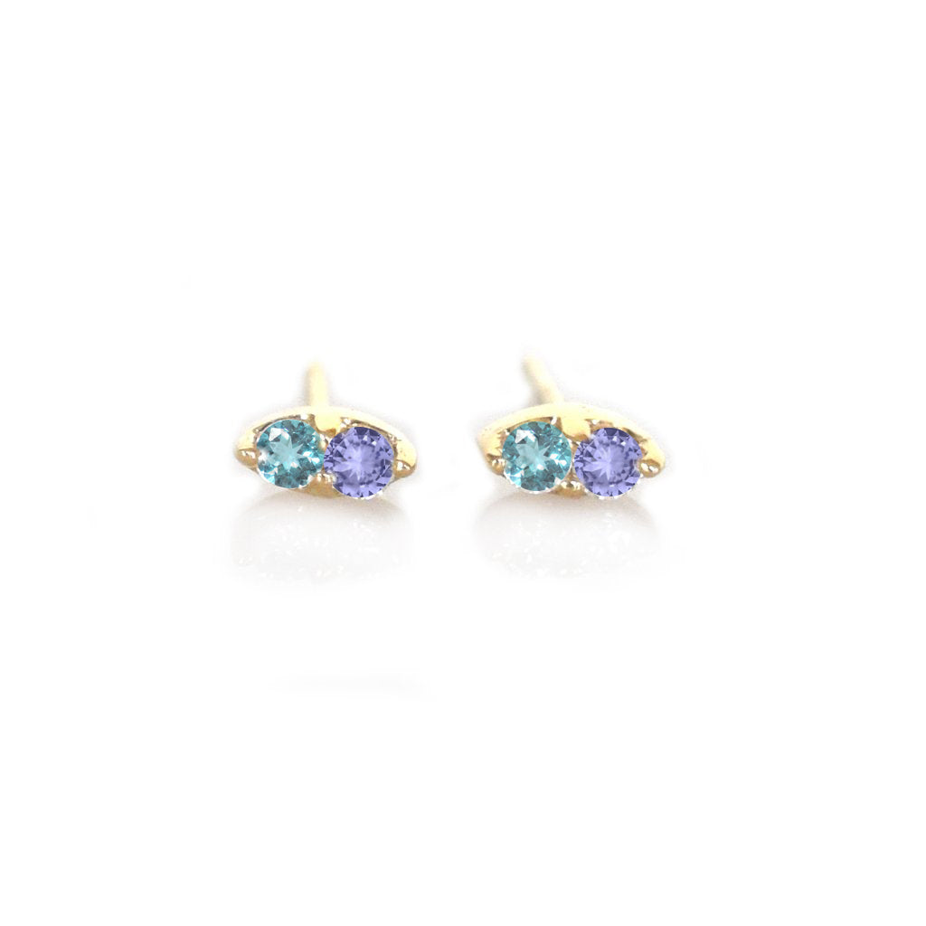14kt Gold Tanzanite and London Blue Topaz Pavillion Studs
