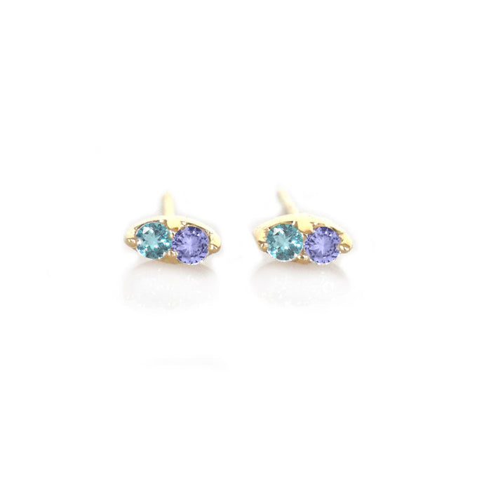 Tanzanite and London Blue Topaz Pavillion Studs