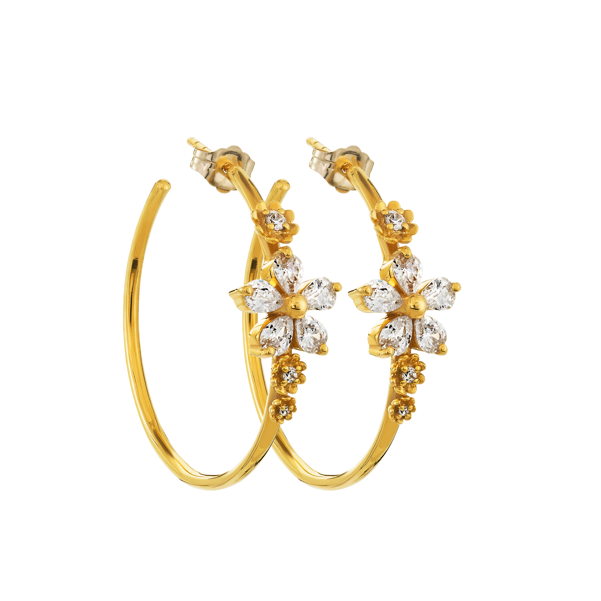 Diamond Flower Garland Hoops