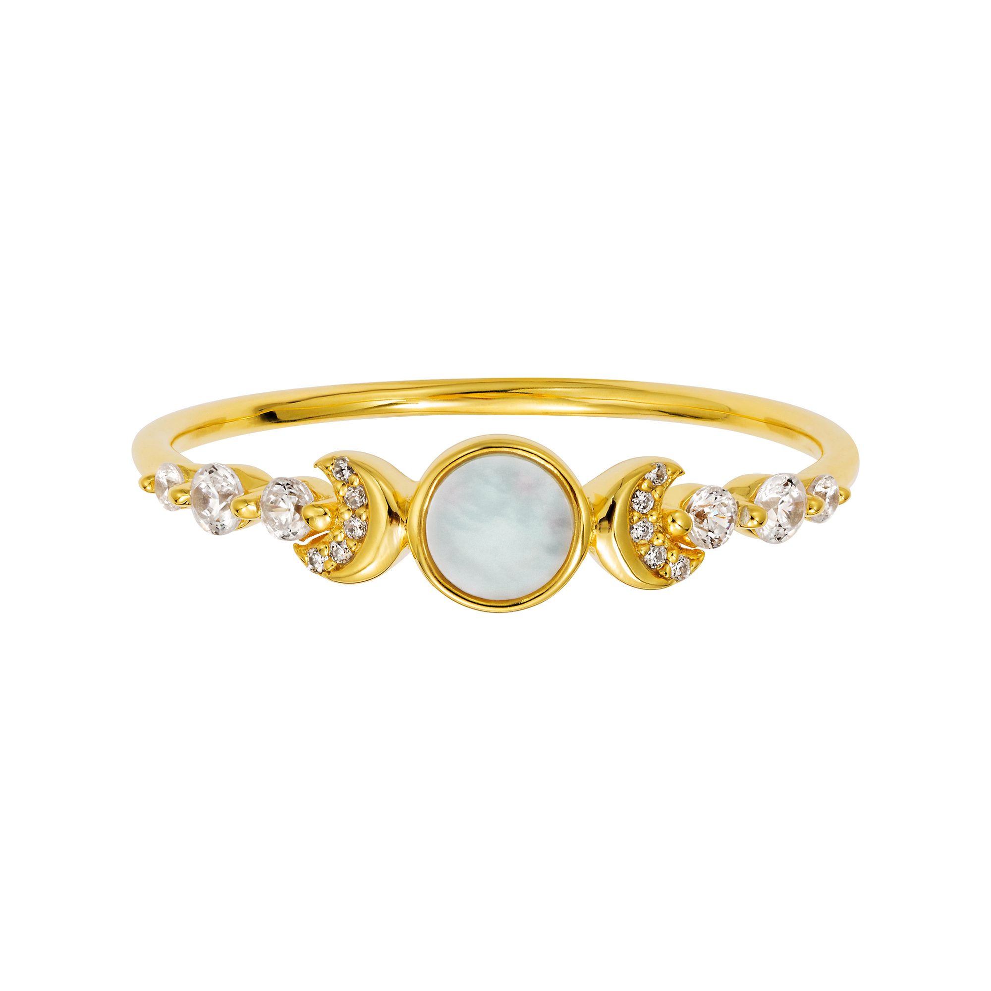 Mother of Pearl and Diamond Galaxy Ring
