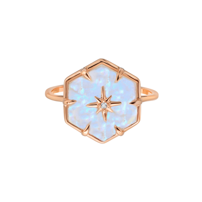 Rose Gold Star Studded Rainbow Moonstone Ring