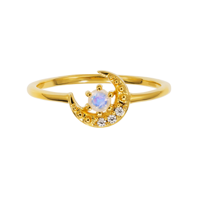 Rainbow Moonstone and Diamond Lunar Sky Ring