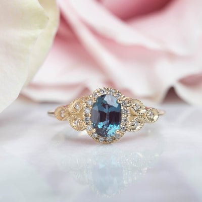 14kt Alexandrite & Diamond Empress Ring