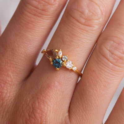 Alexandrite and London Blue Topaz Autumn Leaves Ring