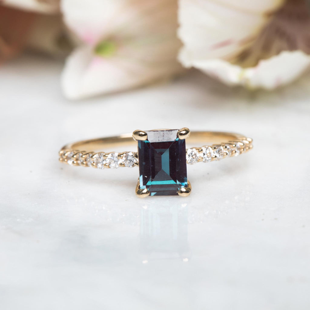 Rose Gold Vermeil Lilac Quartz & Topaz Baguette Ring