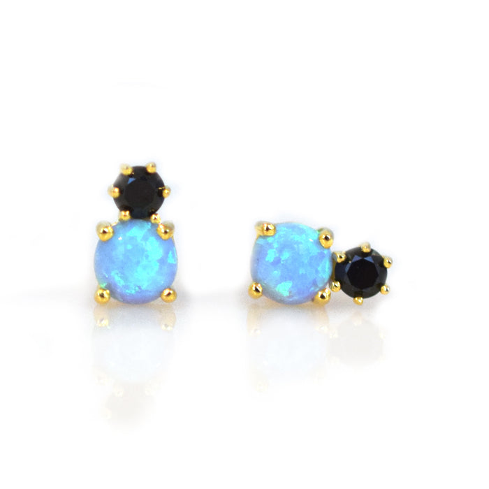 Diamond and Blue Opal Doublet Studs