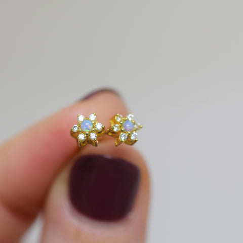 Blue Opal & Diamond Mini Star Studs