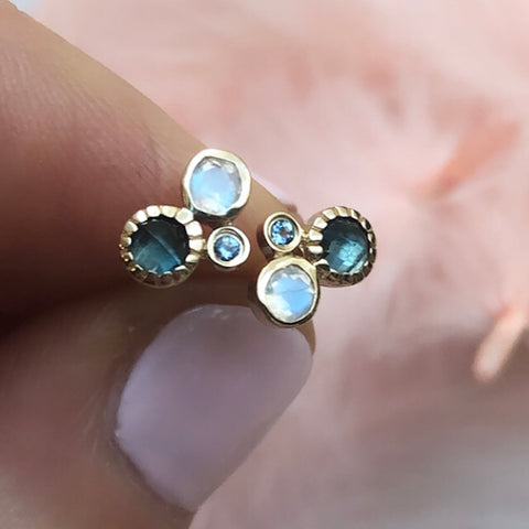 14kt Rainbow Moonstone, London Blue Topaz and Aquamarine Cluster Studs