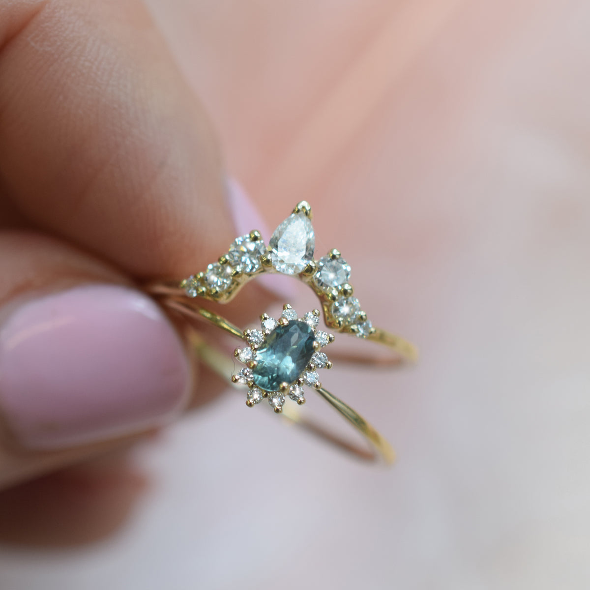 14kt Teal Sapphire and Diamond Fleurette Ring