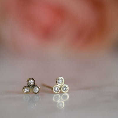 14kt Gold Diamond Trio Studs
