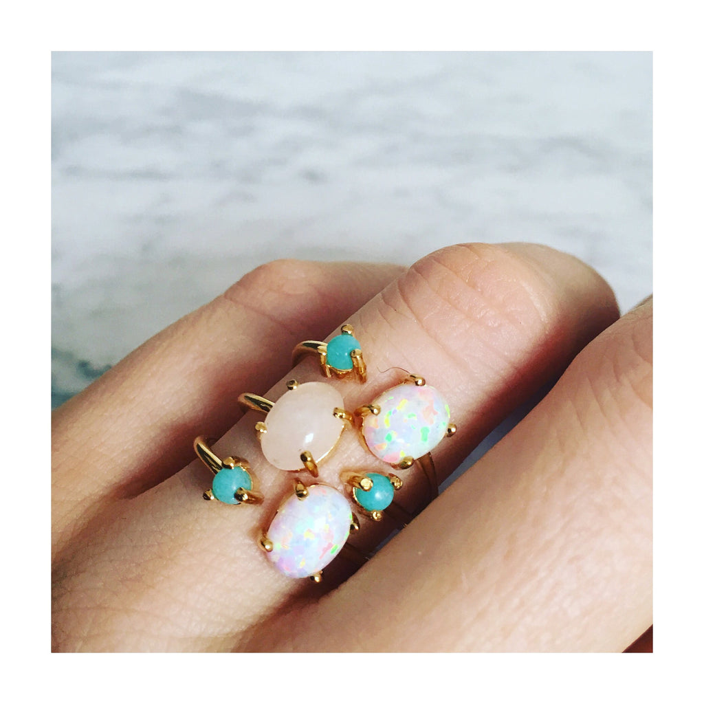 Opal And Turquoise Open Ring Dual Stone Ring La Kaiser