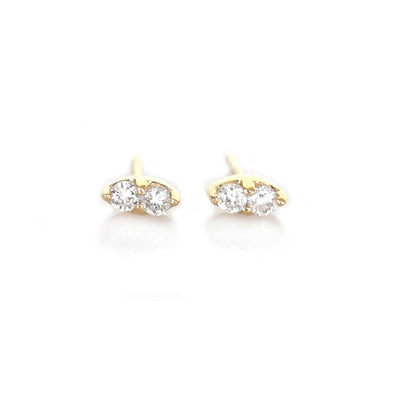 14kt Gold Diamond Pavilion Studs