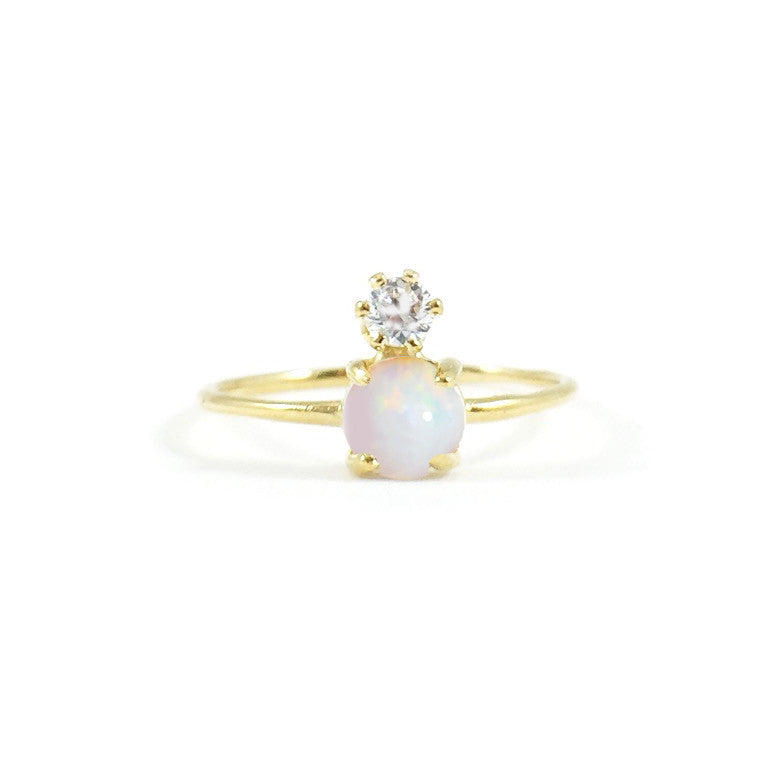 Double Dose Gold Ring opal and diamond