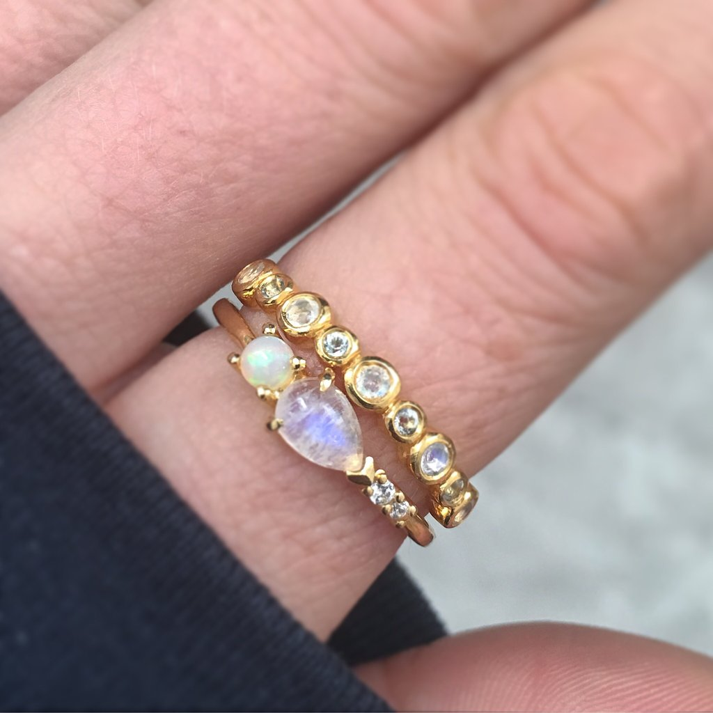 Opal, Rainbow Moonstone and Diamond Elise Ring
