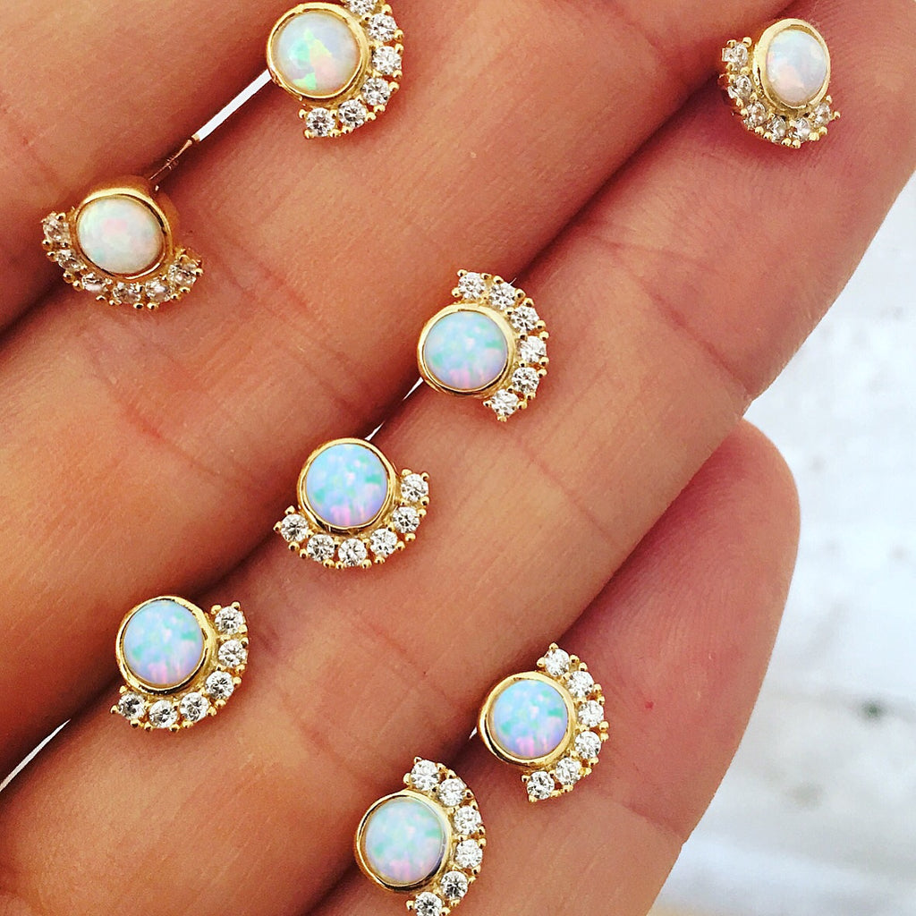 Opal & Diamond Parisian Sunset Studs