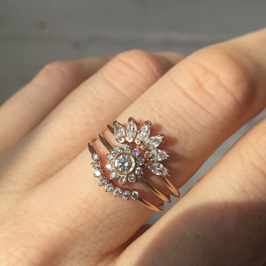 14kt Gold Diamond Sunflower Ring