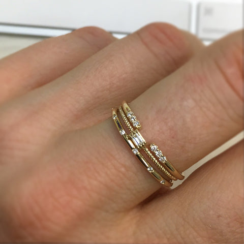*Exclusive* 14kt Gold Diamond Birds of a Feather Stacking Ring